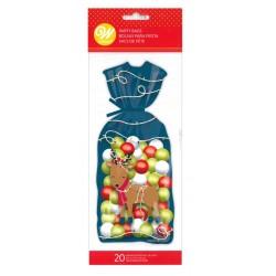 20 Christmas bags - reindeer - Wilton