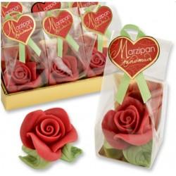 grande rose rouge en pâte d'amandes