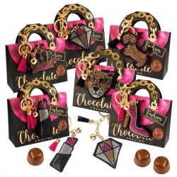 """Fashion"" keychain - dog - on box of chocolates"