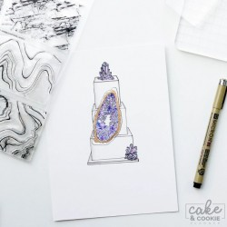 clear stamp - geode, minerals and marble set
