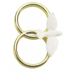dove on double gold colour ring - 38mm - Culpitt