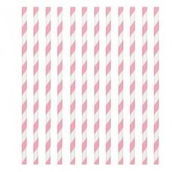 24 pailles en papier - rayure rose