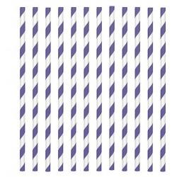 24 pailles en papier - rayure violet