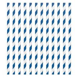 24 pailles en papier - rayure bleu royal