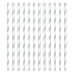 24 paper straws - silver stripe