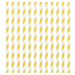24 pailles en papier - rayure jaune