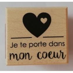 wooden stamp - in my heart - 37 x 40 mm - Artemio