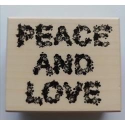 wooden stamp - peace & love 58 x 70 mm - Artemio