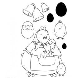 tampon transparent - poule charlotte - 7 pcs - Artemio