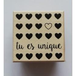 wooden stamp - you are unique  - 45 x 45 mm - Artemio