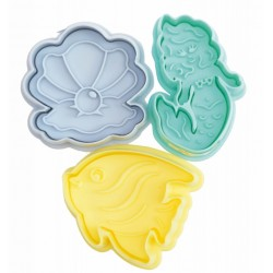 """set of 5 ejector cutters - """"heart, pea, flower, star, button"""" - ScrapCooking"""