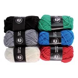 pelotes de laine polyester - couleurs classiques - 6 pièces