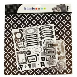 Scrapbooking pack - BLACK & WHITE - 30 x 30 cm - Artemio