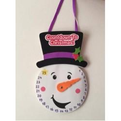 Kit horloge compte à rebours de Noël bonhomme de neige 20cm x 13cm
