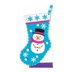 Kit de couture chaussette de Noël bonhomme de neige 22cm