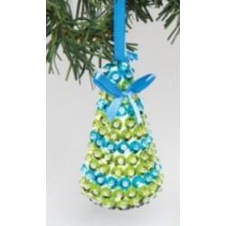 Kit de décoration arbre de Noël bleu avec sequins 10cm x 5cm