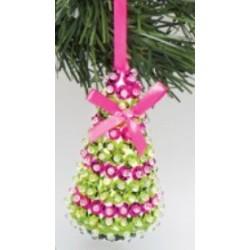 Kit de décoration arbre de Noël rose avec sequins 10cm x 5cm