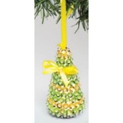 Kit de décoration arbre de Noël jaune avec sequins 10cm x 5cm