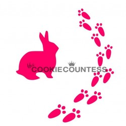 stencil Bunny prints / Lapin & ses empreintes de pas - Cookie Countess