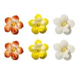 Décorations en sucre mini orchidées fleurs - 6 pces - 3.5 cm - Decora