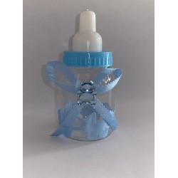 biberon bleu en plastique