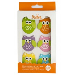 Owls Sugar Decoration - 6p - Decora