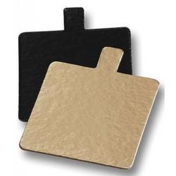 double face or et noir avec languette - 8 x 8 cm x 1 mm