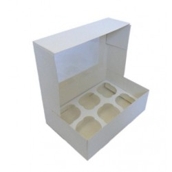 box 6 cupcake & insert - white