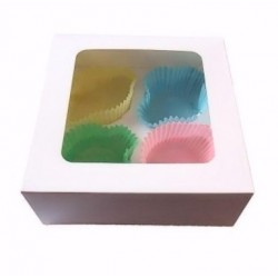 boîte à 4 cupcakes & insert - blanc