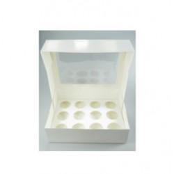 boîte à 12 mini cupcakes & insert - blanc