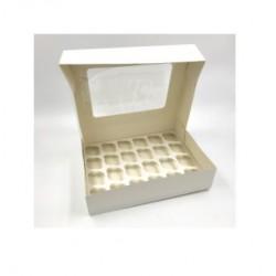 boîte à 24 mini cupcakes & insert - blanc