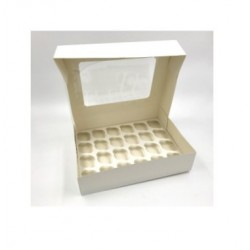 box 24 mini cupcake & insert - white