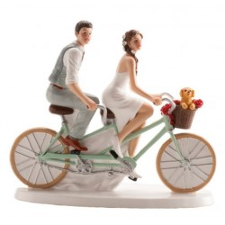 figurine married couple on bicycle - 16 x 18 cm