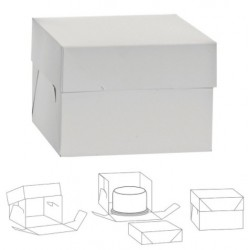 boîte en carton pour gâteau - blanc - 26.5 x 26.5 x H25cm - Decora