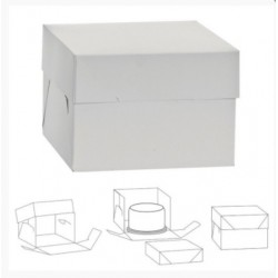 boîte en carton pour gâteau - blanc - 20.5 x 20.5 x H15cm - Decora