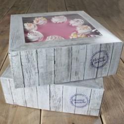 boîte  à gâteau - Pure - 2pces - 26 X 26 X H12cm - FunCakes