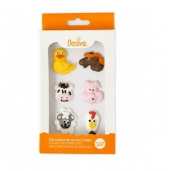 Farm animals Sugar Decoration - 6p - Decora
