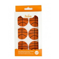 Sugar decoration basketballs  - 6p - Decora