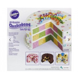 Round checkerboard cake pan set Wilton