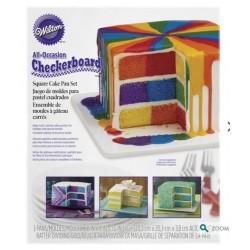 Set moule carré pour gâteau Damier Wilton