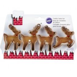 Christmas reindeer cookie cutter set - Wilton - 4p - 7.5 cm