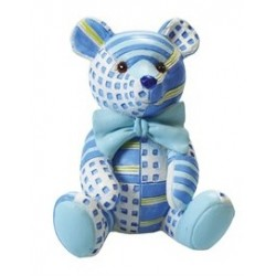 Figurine - blue patchwork Ted - 65mm - Culpitt