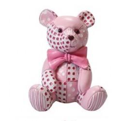 Figurine - pink patchwork Ted - 65mm - Culpitt