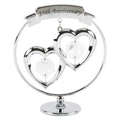 Figurine - Crystocraft chrome plated silver wedding with Swarovski crystal - Culpitt