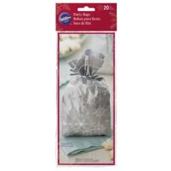 20 Christmas bags- silver snowflakes - Wilton - 10.1 x 5.08 x 24.1 cm