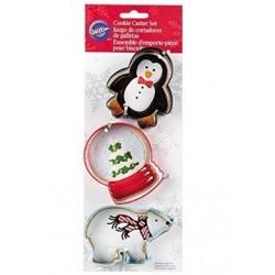 Christmas Cookie Cutters - penguin, snow globe and polar bear - Wilton
