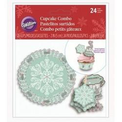 24 cupcake cups - pastel green snowflake - 5cm Ø - 24 picks - Wilton