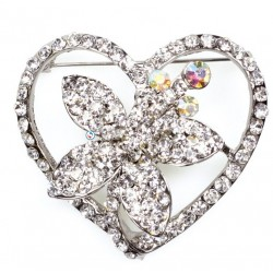 Flower Heart Diamante Brooch - Culpitt