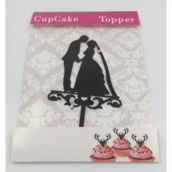 Cake topper acrylique - silhouette de mariés 1