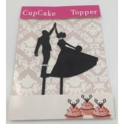 Cake topper acrylique - silhouette de mariés 2
